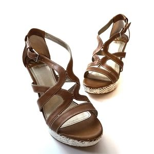 Fergalicious Wedge Sandals in Tan Size 8